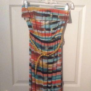 Juniors Off Shoulder Maxi Dress Stripe Multi Small